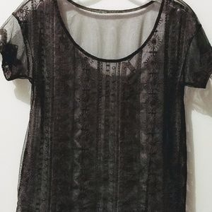 Grey Sheer top with detailed stitching
